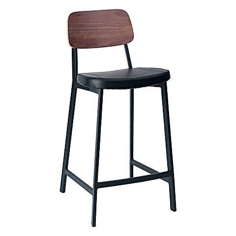 Add warmth and textural looks to your décor with the walnut veneer grains of the Bately Luxe Bar Stool, Walnut/Black, 65cm from Multi.