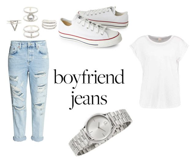 """""""Best Boyfriend Jeans"""" by kate-loves-fashion ❤ liked on Polyvore featuring H&M, Converse, Charlotte Russe and Calvin Klein"""