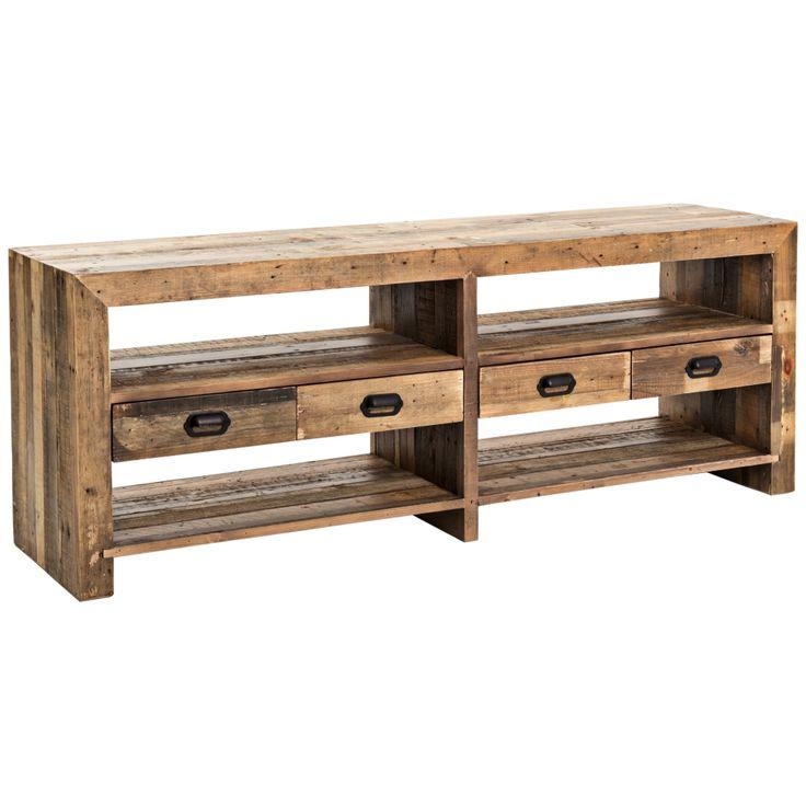 mariposa rustic natural mixed reclaimed wood media console style 15a53 best 20 - Reclaimed Wood Media Console