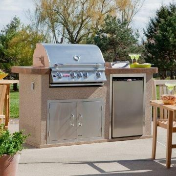 Outdoor grill island.