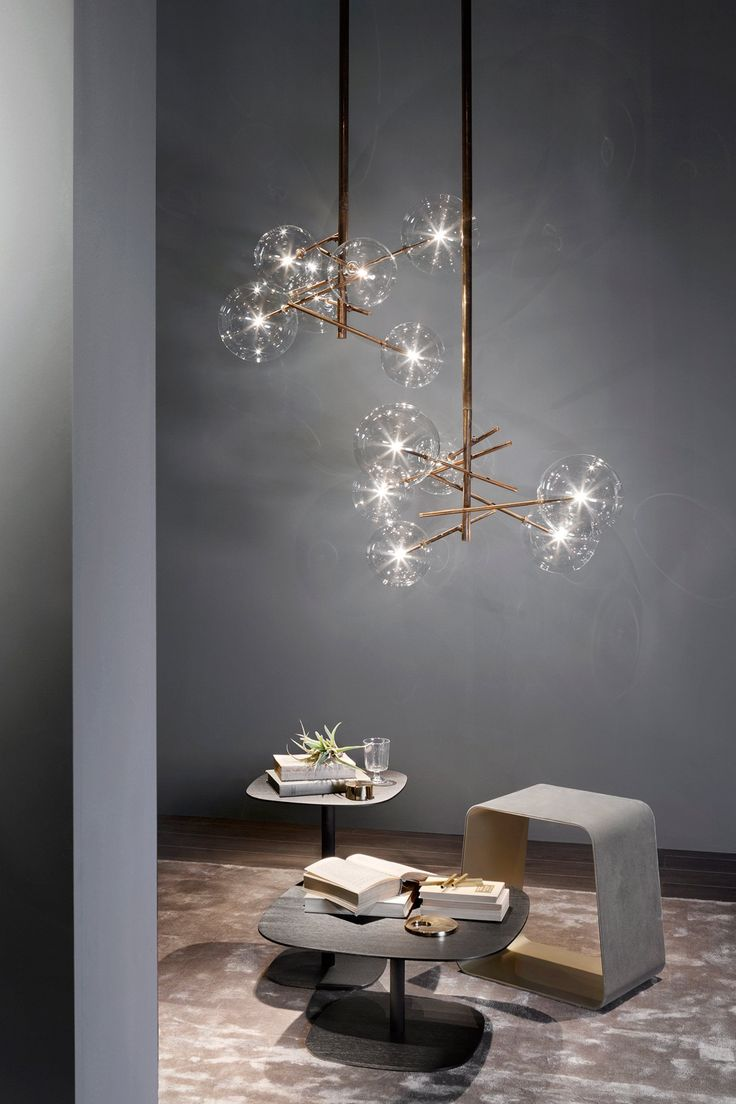 Order Now: Bolle By Gallottiu0026Radice   Suspension Lamp With Halogen Point  Light And Burnished Brass Finish, Available With 4 Or 6 Transparent Glass  Balls.