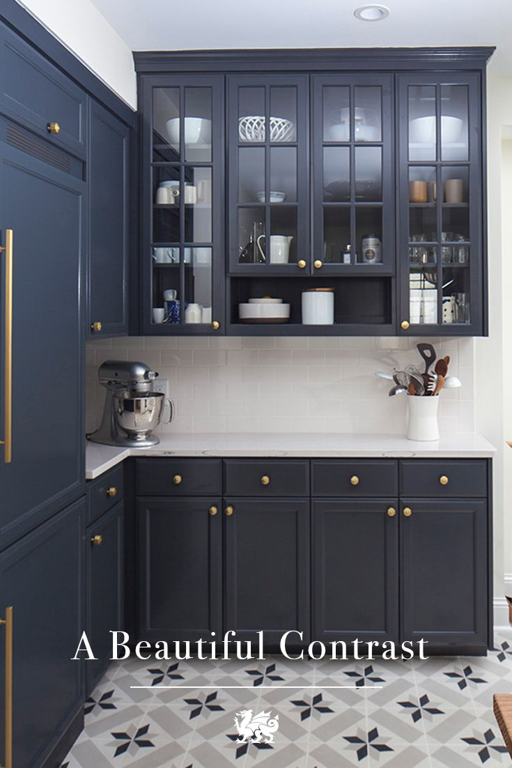 Darker Hued Cabinets With Our Light EllaTM Design Are Beautifully Balanced By Floor Tiling That