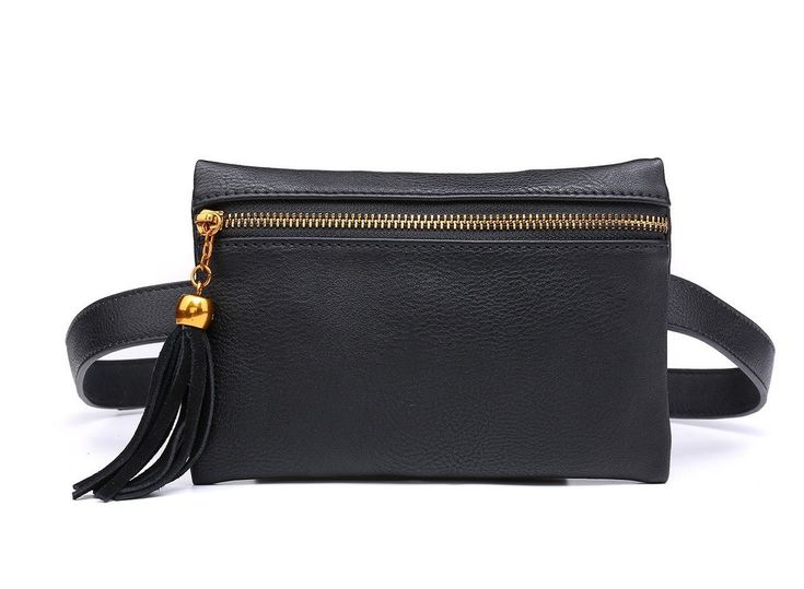 Woman Waist Small Bag Leather Black Handbag Travel Phone Pouch Stylish Wallet  #WomanWaistSmallBag #waistbag