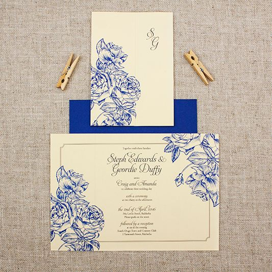 blue and cream wedding invitation