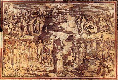 """Domenico di Beccafumi, De mozaïeken, de sibillen (zijbeuk), allegorieën (schip), scènes uit het Oude en Nieuwe Testament (linkertransept),deugden (koor). """"Mozes komt van de berg Sinaï"""""""
