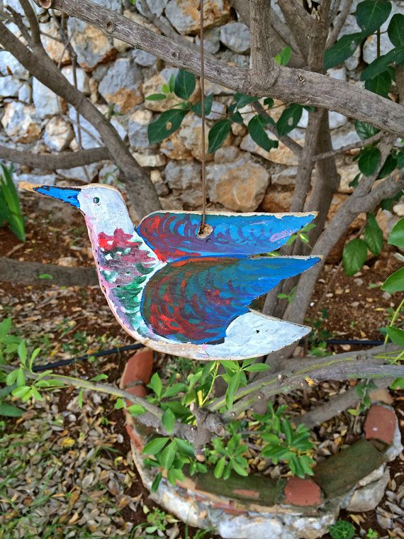 Hand cut and painted color little bird - Home decor - Garden decor - Ply wood - Worn look surface - Acrylic paint - Double side painted - Product details • Hand cut and painted • Worn look surface with special technique • Can be hanged also to garden trees • Double side painted by Think4HandmadeArt, €13.00