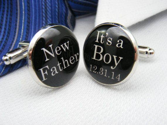 New Father - It's a Boy - Custom Date - Cufflinks - Mens Accessories - Dad Gift Ideas - Jewellery - Father's Day - Unique - New Dad Gift on Etsy, $39.00 CAD