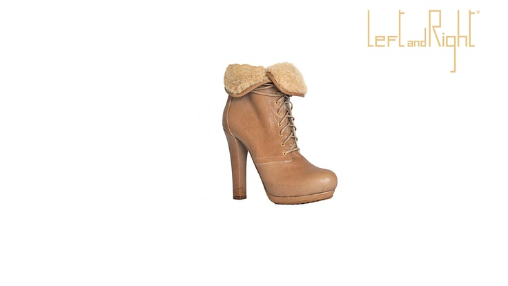 Ankle boot Caramel _ Shearling, 12cm heel, double platform, rubber sole.