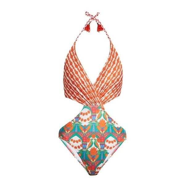Paolita Andal swimsuit ($235) ❤ liked on Polyvore featuring swimwear, one-piece swimsuits, orange multi, floral one piece swimsuit, cut out one piece swimsuit, halter swimsuit, swim suits and halter one piece swimsuit