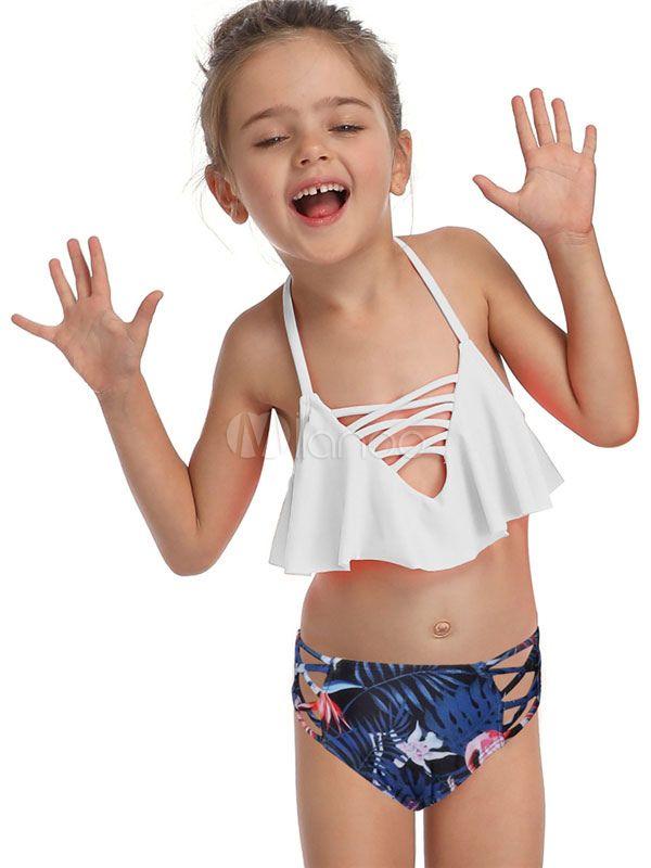 Toddler Kids Baby Ruffle Print Summer Swimwear Swimsuit Bikini Bathing Outfits