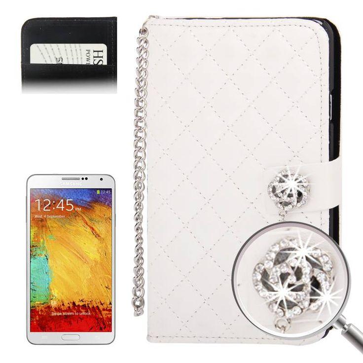 Witte Samsung Galaxy Note 3 Bookcase hoes met diamandlook sluiting