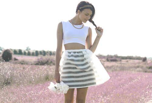 Полосатая юбка из органзы