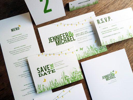 Garden party themed wedding invites.