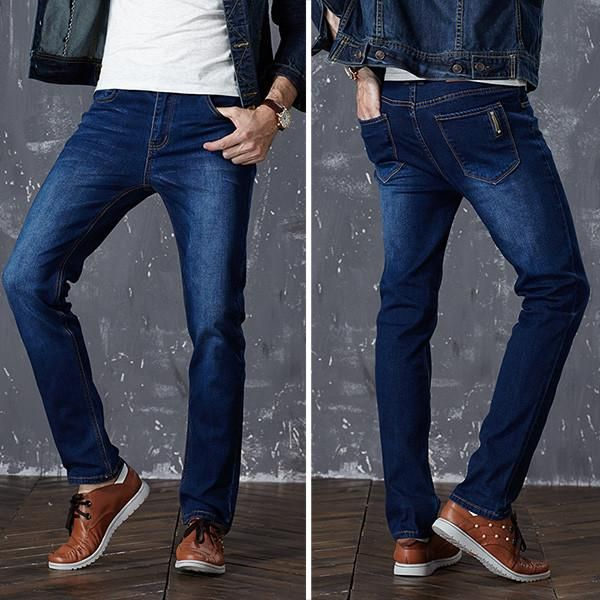 New Fashion Mens Jeans Slim Stretch Pants Thin Denim Trousers Lightweight Summer Jeans for Men