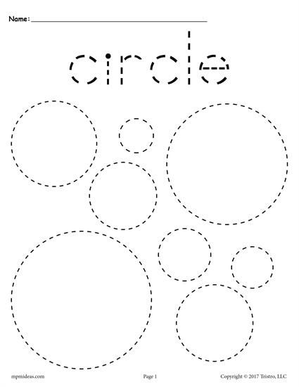 FREE preschool tracing shapes worksheets. Includes a circle tracing worksheet plus 11 other shapes tracing worksheets. Great for toddlers too! Get them all here --> http://www.mpmschoolsupplies.com/ideas/7545/12-free-shapes-tracing-worksheets/