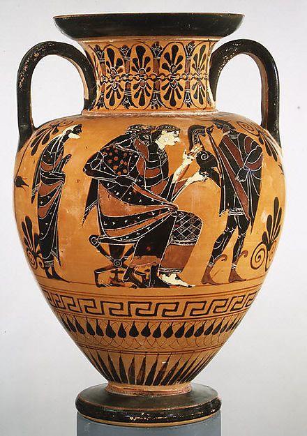 Terracotta neck-amphora (jar) Attributed to the manner of the Lysippides Painter Period: Archaic Date: ca. 520 B.C. Culture: Greek, Attic Medium: Terracotta; black-figure