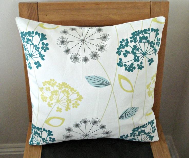Pillows dandelion clock seeds allium lemon yellow teal blue grey gray design cushion shams UK designer fabric 18 inch. $30.00, via Etsy.