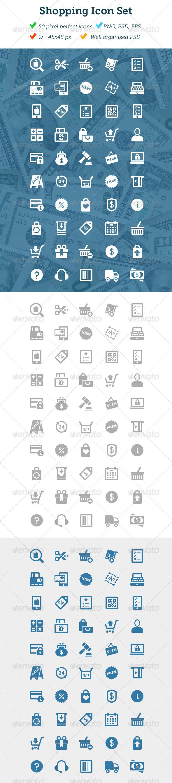 Shopping Icon Set  #GraphicRiver        50 Shopping Icons What do you get   Source .psd, EPS (10, CS3 , CS5), PNG   50 48px grey icons / PNG   50 64px whiteicons / PNG   50 64px blue / PNG   Easily change color.  Metaphors:   Add to cart  Auction  Barcode  Calculator  Calendar  Cart  Cash  Contact Us  Cash register  Coupon  Credit Cards  Cut a Coupon  Delivery  Discount  Dollar  Favorite Item  Free  Guide  Gift Card  Gift  Info  List  Mobile List  Mobile Payment  Mobile Purchase  New  Open…