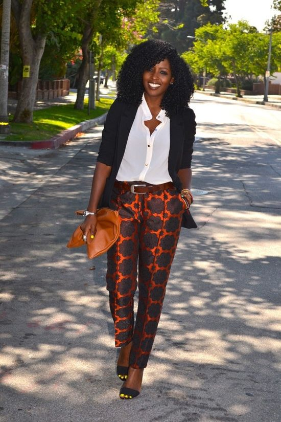 Dressy African Outfits for Women | You could fit the printed pants with a nice top and jacket for that ...