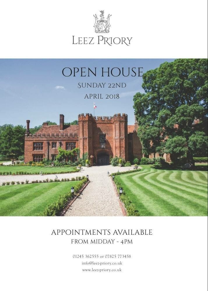 OPEN DAY 💍💒  SUNDAY 22ND APRIL 2018  Spaces are now limited. If you would like to book an appointment please contact Linda on 01245362555 or email info@leez-priory.co.uk  We look forward to hearing from you ♥️