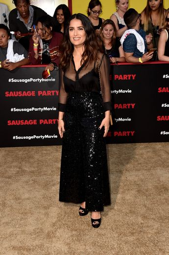 """Salma Hayek attended the Los Angeles premiere of her new film """"Sausage Party"""" at Regency Village Theatre in Westwood."""