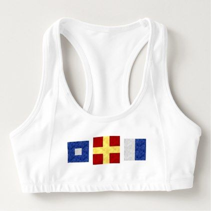 Watercolor Nautical Maritime Signal Flag Monogram Sports Bra - womens sportswear fitness apparel sports women healthy life