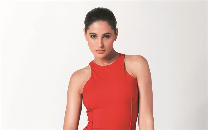 Download imagens Nargis Fakhri, Modelo indiano, 4K, Bollywood, A atriz indiana, vestido vermelho, morena, mulheres bonitas, As mulheres indianas