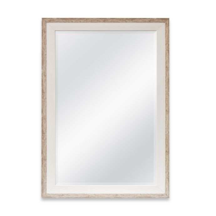 Rectangular 2 Tone Large Wall Mirror In Weathered Wood Mirror