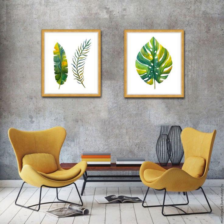 Купить Тропические листья - зеленый, листья, ботанический рисунок, ботаническая акварель, ботаническая живопись