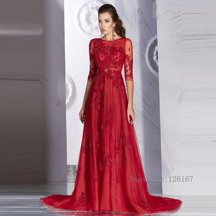 Aliexpress.com: Acheter Rouge Lone Appliqued robes de soirée 2016 nouvelle arrivée moitié manches Sweep   train robes de soirée formelle de bal robe de soirée CGE308 de mosaïque robe fiable fournisseurs sur Evening Dresses 1991