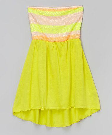 Look what I found on #zulily! Neon Yellow Sequin Dress - Girls #zulilyfinds