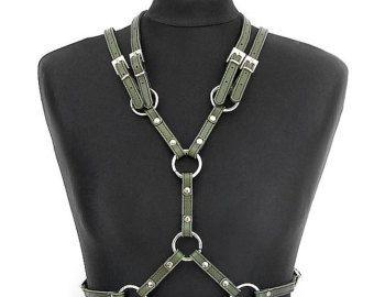 Militärische grün Leder-Harness