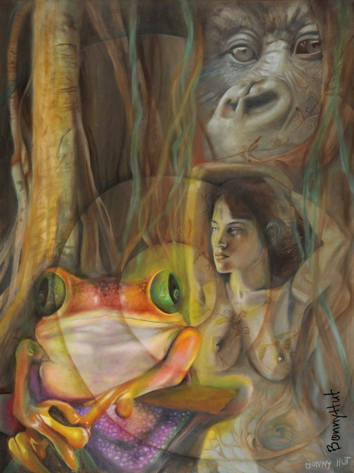 "This oil painting is called ""The earth's secret."" It contains a nude woman, a frog and a gorilla in a forest. The collection of images on the painting is quite strange, both the gorilla and the woman looking off to the left as though in contemplation. I am sure the earth has many hidden secrets."