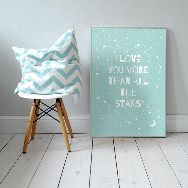I love you more than all the Stars. Plakat dla dzieci. pokój dziecka | noc | ilustracja | nursery poster | scandinavian style | moon | stars | baby | illustration | baby room