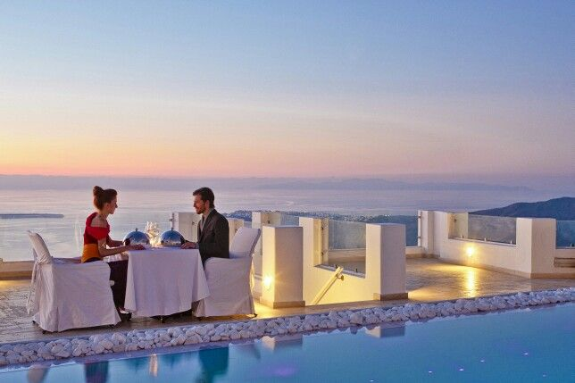 Gazing at your other-half's eyes, while enjoying incomparable tastes and a breathtaking view... Dreamy #Santorini! (See more at http://www.gastronomysantorini.com and http://www.candlelightdinnersantorini.com)