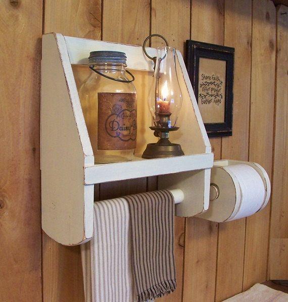 Bathroom storage set towel shelf toilet paper holder old - Bathroom towel and toilet paper holders ...