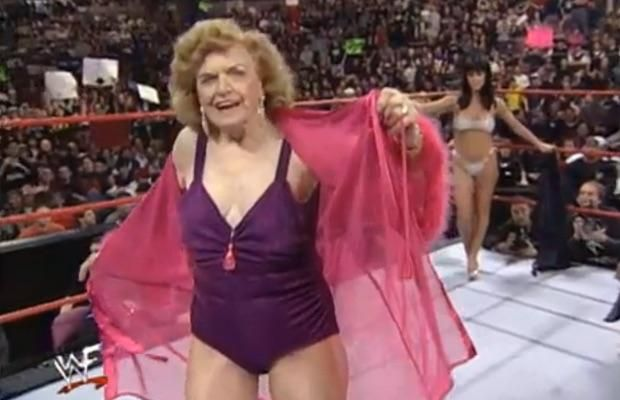 I see your 96 Salam Hayek and raise you 2000 Mae Young at the Royal Rumble