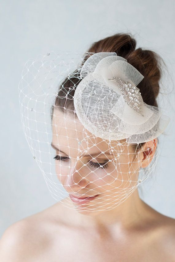 Bridal Rhinestone Hat with Birdcage Veil, Cocktail Hat, Bridal Bow Headpiece, Millinery Sinamay Hat, Bridesmaid Fascinator