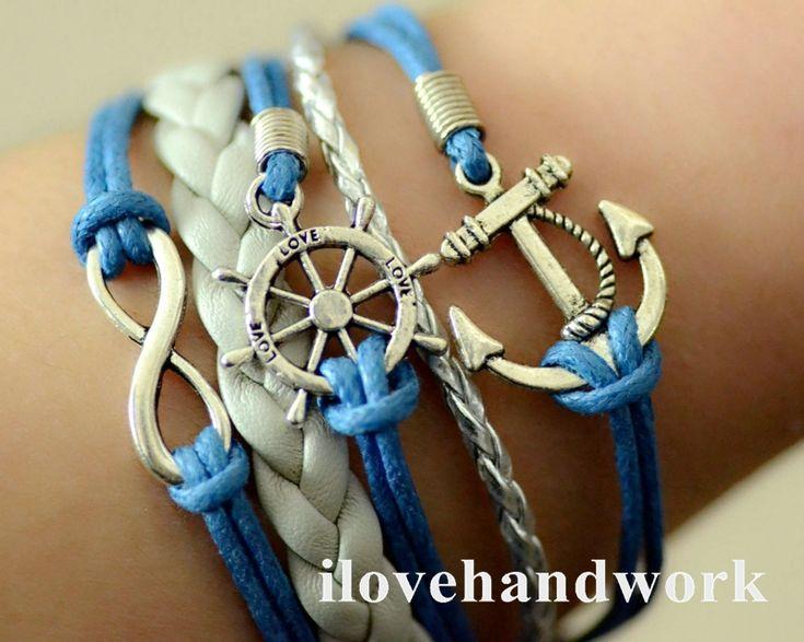 Handmade Infinity anchor Rudder antique silver pendant blue