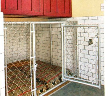 Thinking we could build a kennel in the garage with a for Dog kennel in garage ideas