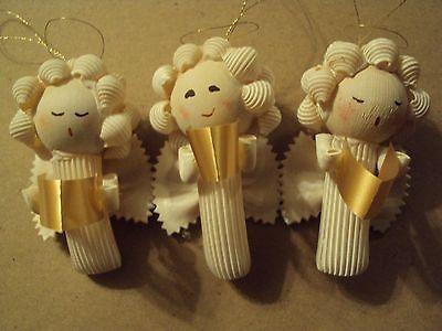 Lot-of-23-Handmade-Macaroni-Pasta-ANGEL-CHRISTMAS-ORNAMENTS-3-Resell-Craft-Sale