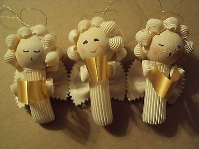 Lot-of-23-Handmade-Macaroni-Pasta-ANGEL-CHRISTMAS-ORNAMENTS-3-Resell-Craft-Sale