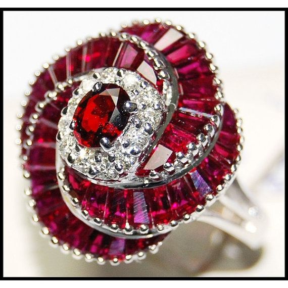 Unique 18K White Gold Eternity Ruby Diamond Cocktail by BKGjewels
