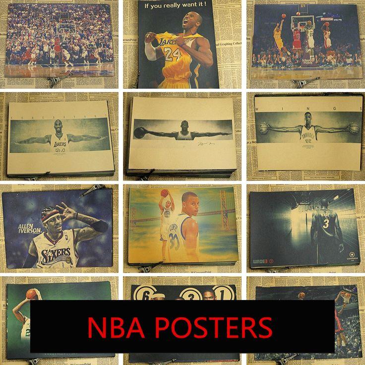 NBA Poster Kobe Bryant Jordan James Basketball All Star kraft paper decorative painting