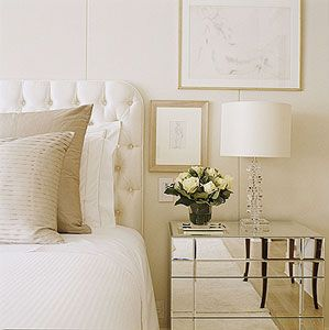 lots of light: white, silver, cream, gold, glass and floral