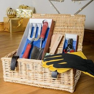 """The Mens Medium Gardening Gift Set includes a pair of luxurious Gold Leaf Dry Touch Gardening Gloves, an RHS Endorced Groundworks Trowel and Fork Set, RHS Groundworks Secateurs and a pack of FSC Wooden Plant Labels and all packaged in a beautiful handmade traditional 14"""" Wicker Hamper with real leather straps and hinges. Mens Medium Gardening Gift Set - Harrod Horticultural http://www.harrodhorticultural.com/mens-medium-gardening-gift-set-pid9382.html"""