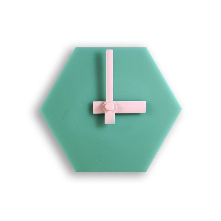Amindy  - GEO Hexagon Desk Clock - Aqua Green with Baby Pink Hands - $49 - Shop online at www.amindy.com.au