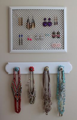 handmade jewelry display...Ive used old adjustable window screens before and its cheap and works great for earrings....