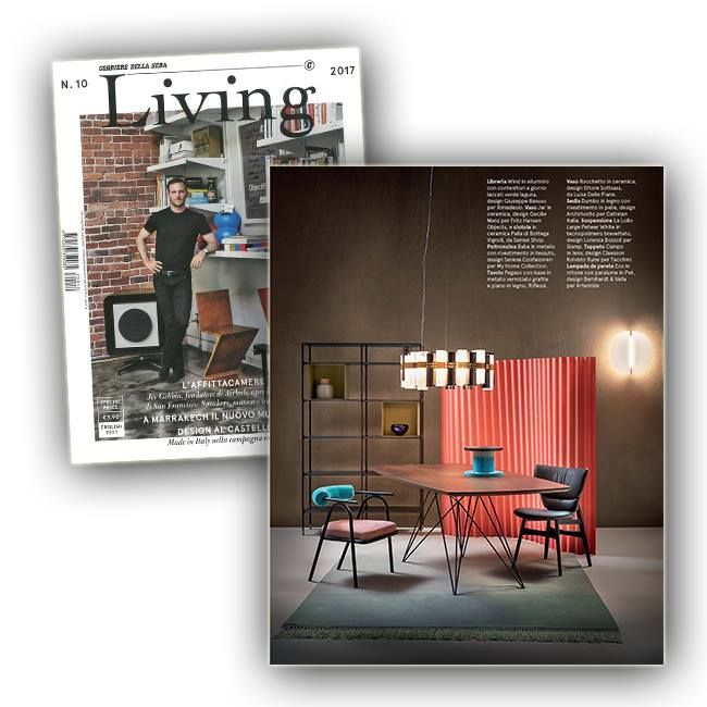 October's Issue of the leading Italian designLiving Corriere - superbly directed by Francesca Taroni - featured LA LOLLO LARGE GOLD/FUMÈ on a wood table #pressreview #slampreview. Discover more www.slamp.com