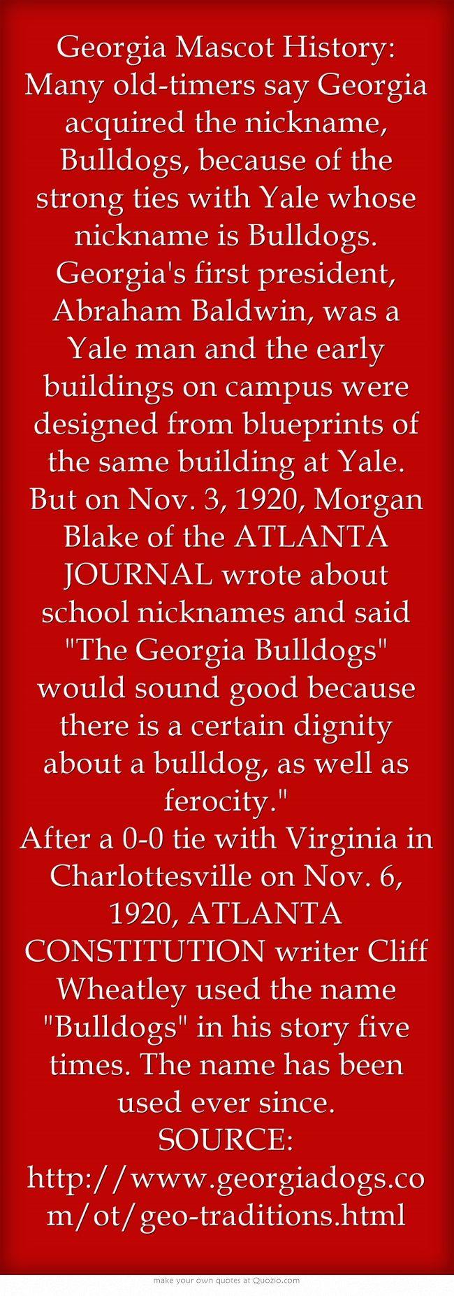Georgia Mascot History: